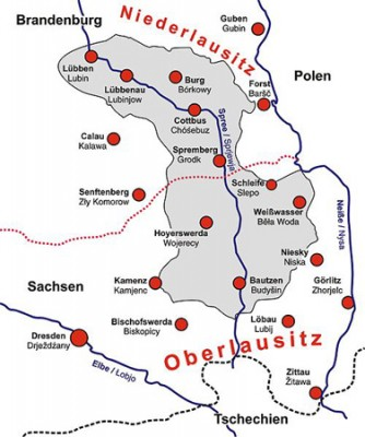 Das Siedlungsgebiet der Sorben in Sachsen und Brandenburg.